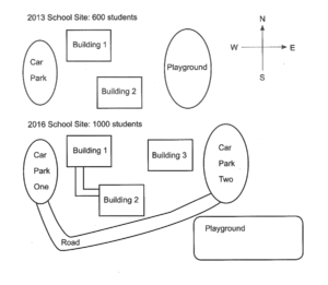 The maps below show the sites of a school in 2013 and the planned one in 2016